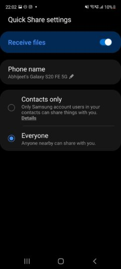 How to use Samsung Quick Share