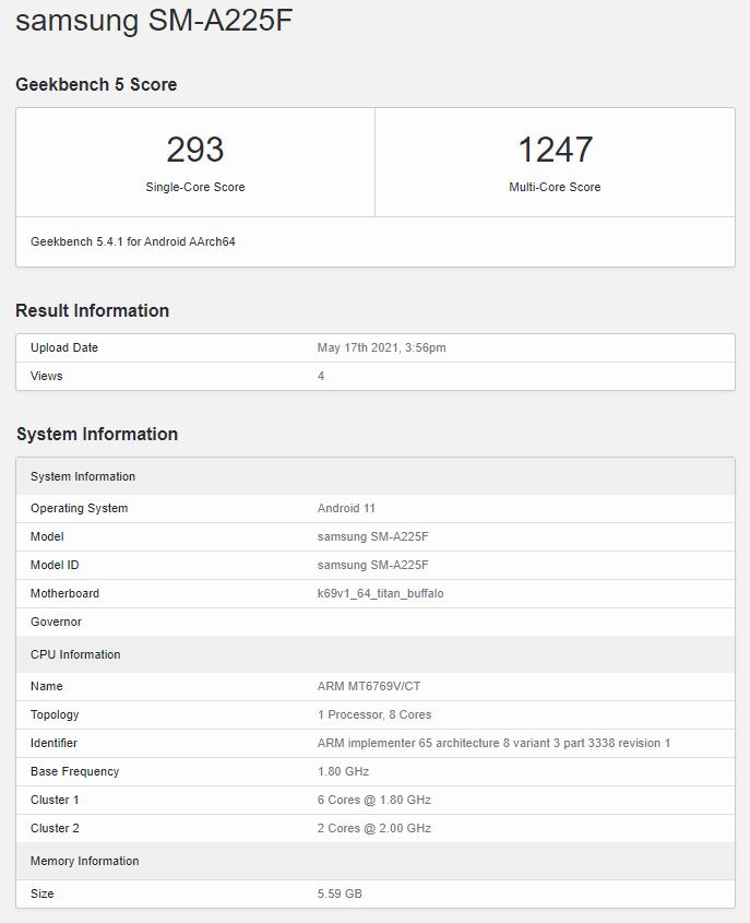 The Galaxy A22 4G just got benchmarked with the same SoC as the A32