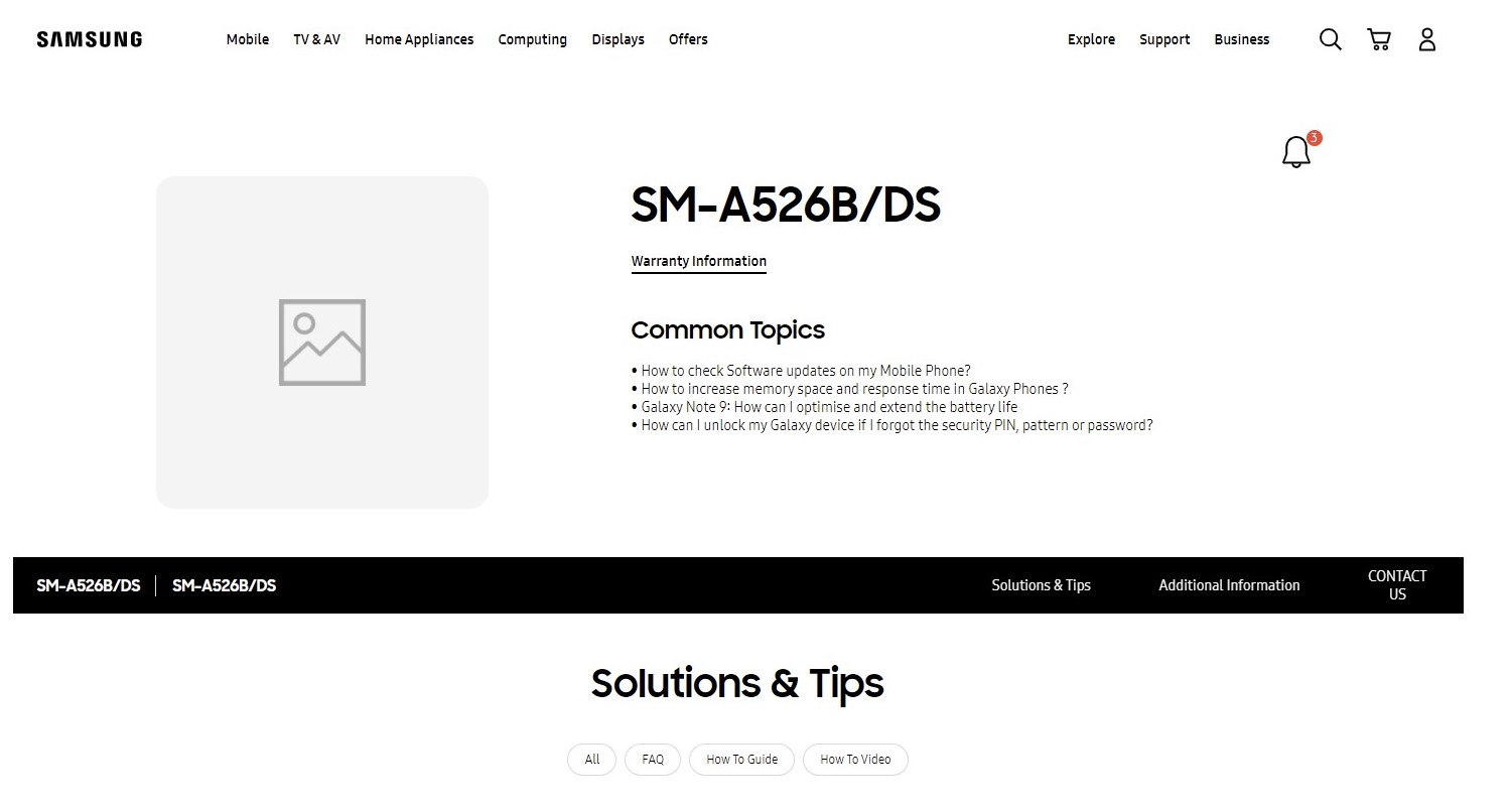 Samsung Galaxy A52 5G India Support Web Page