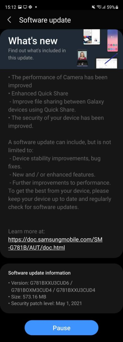 Samsung Galaxy S20 FE 5G May 2021 Security Update Changelog