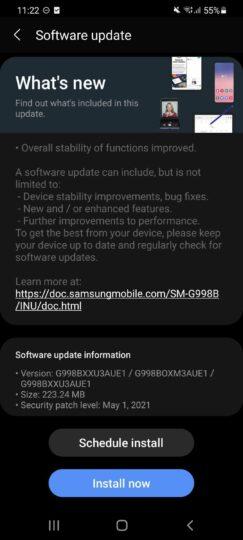 Samsung Galaxy S21 Ultra May 2021 Software Update India G998BXXU3AUE1 Changelog