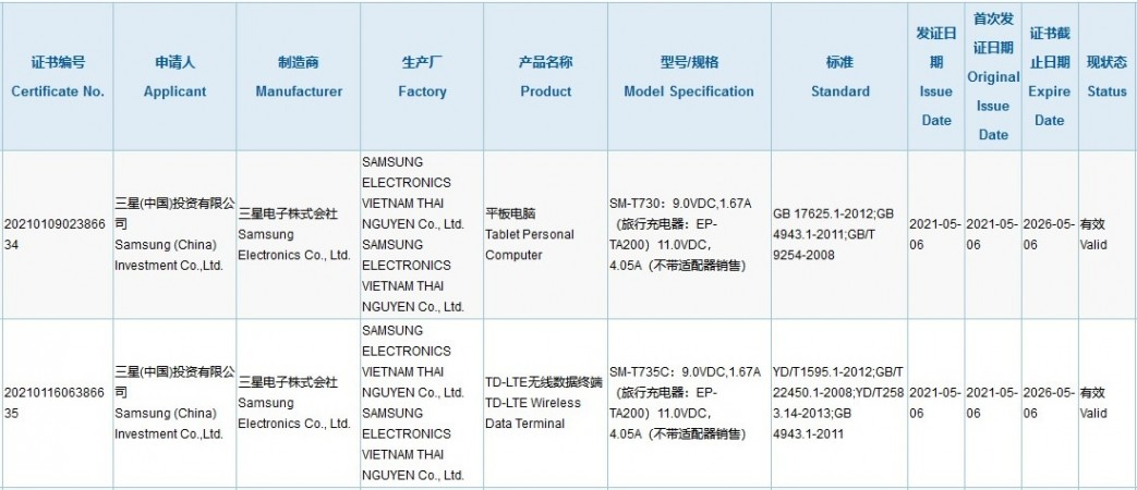 Samsung Galaxy Tab S7+ Lite Charging 3C Certification