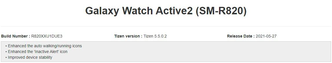 Samsung Galaxy Watch Active 2 Software Update May 2021 Changelog