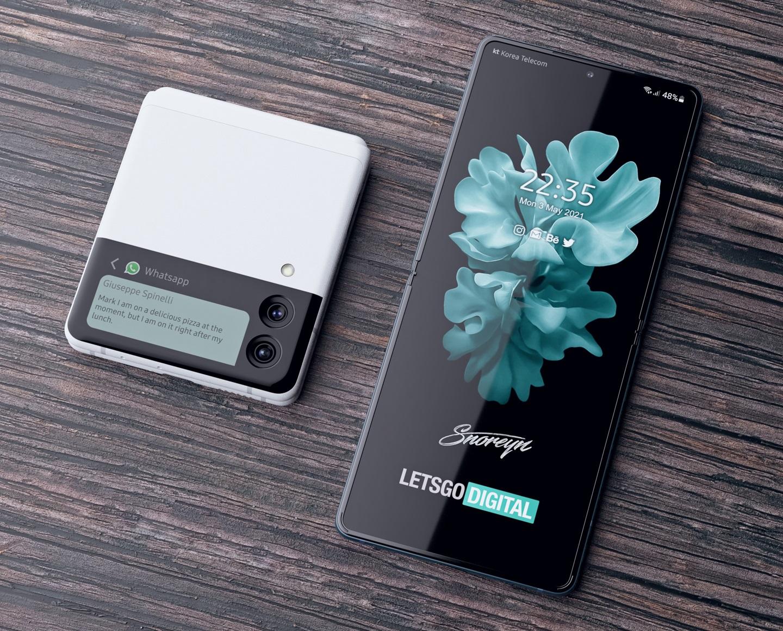 Samsung Galaxy Z Flip 3 White Concept Render