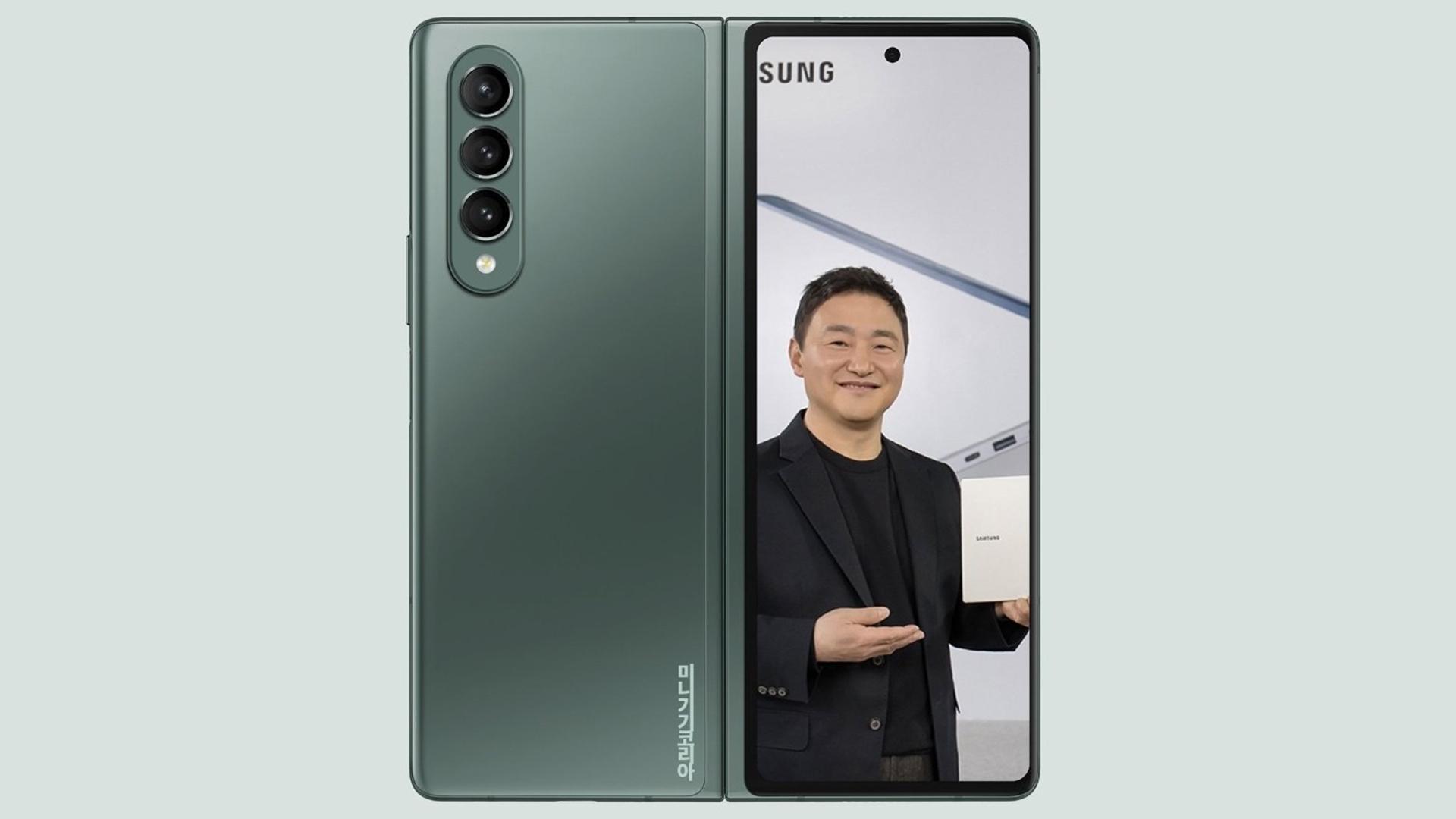 Samsung Galaxy Z Fold 3 Green Concept Render
