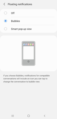 Samsung Galaxy A01 Android 11 Update Chat Bubbles Settings
