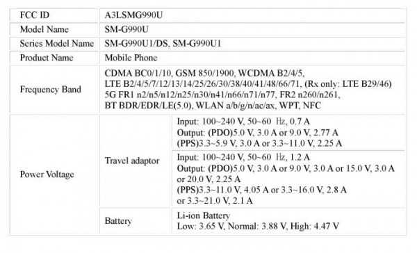 Samsung Galaxy S21 FE 45W Fast Charging FCC Certification