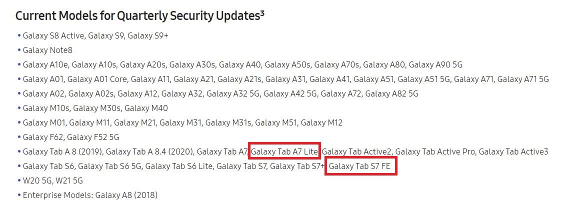Samsung Galaxy Tab A7 Lite & Galaxy Tab S7 FE Software Update Frequency