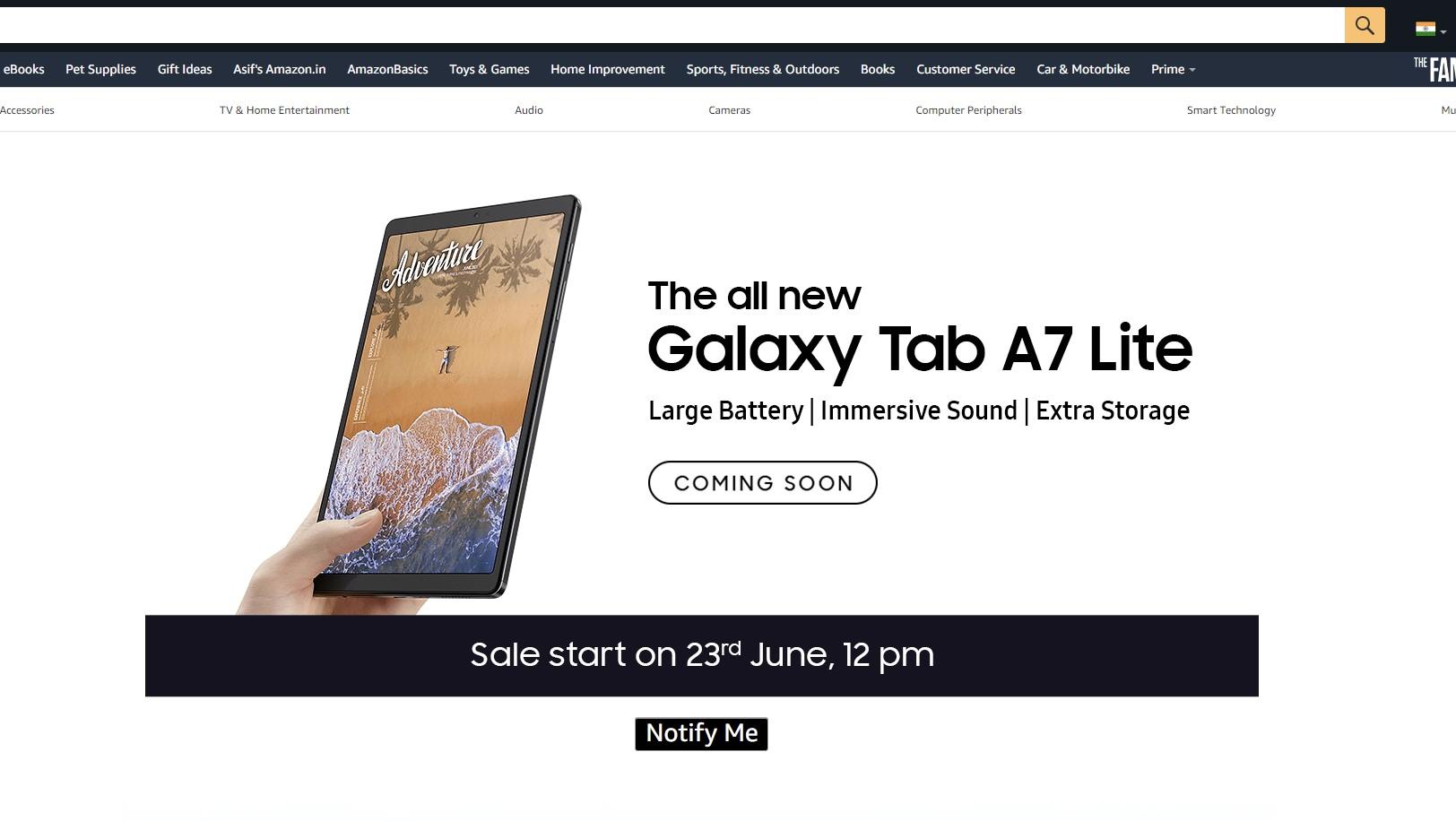 Samsung Galaxy Tab A7 Lite Launch Date India