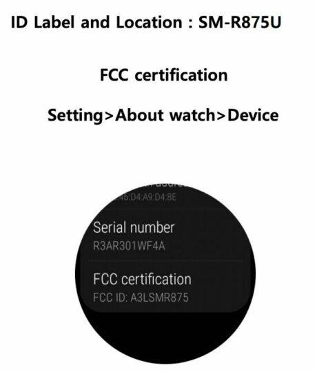 Samsung Galaxy Watch Active 4 SM-R875U FCC Certification Label