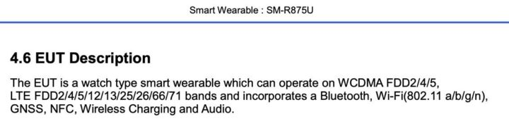 Samsung Galaxy Watch Active 4 SM-R875U FCC Certification Wireless Charging