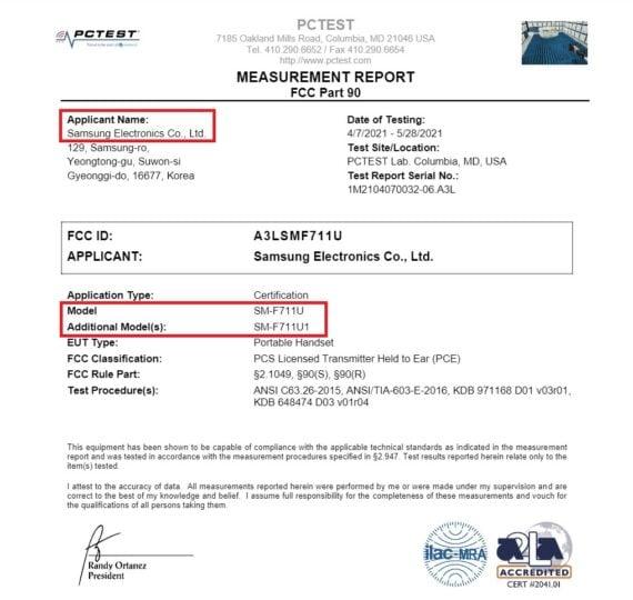 Samsung Galaxy Z Flip 3 FCC Certification 5G 4G LTE Wi-Fi Bluetooth