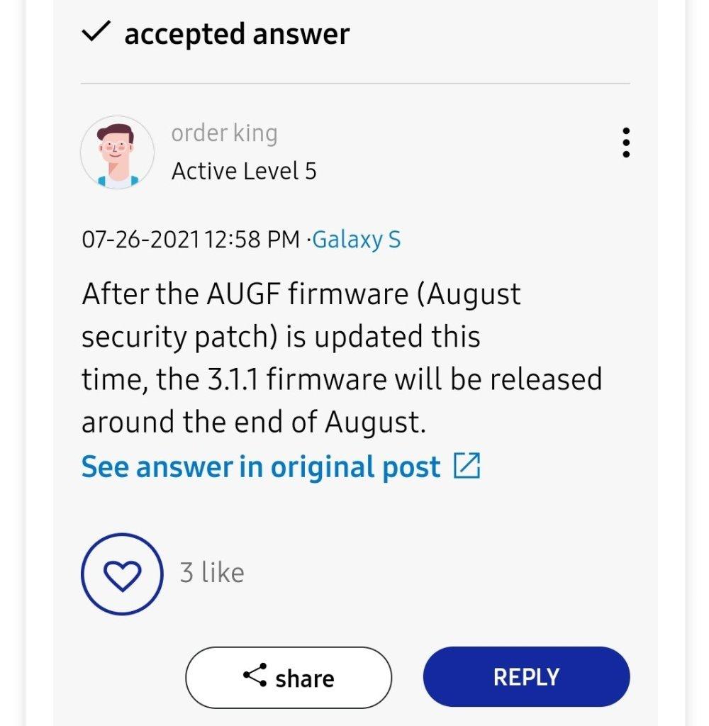 One UI 3.1.1 galaxy s21