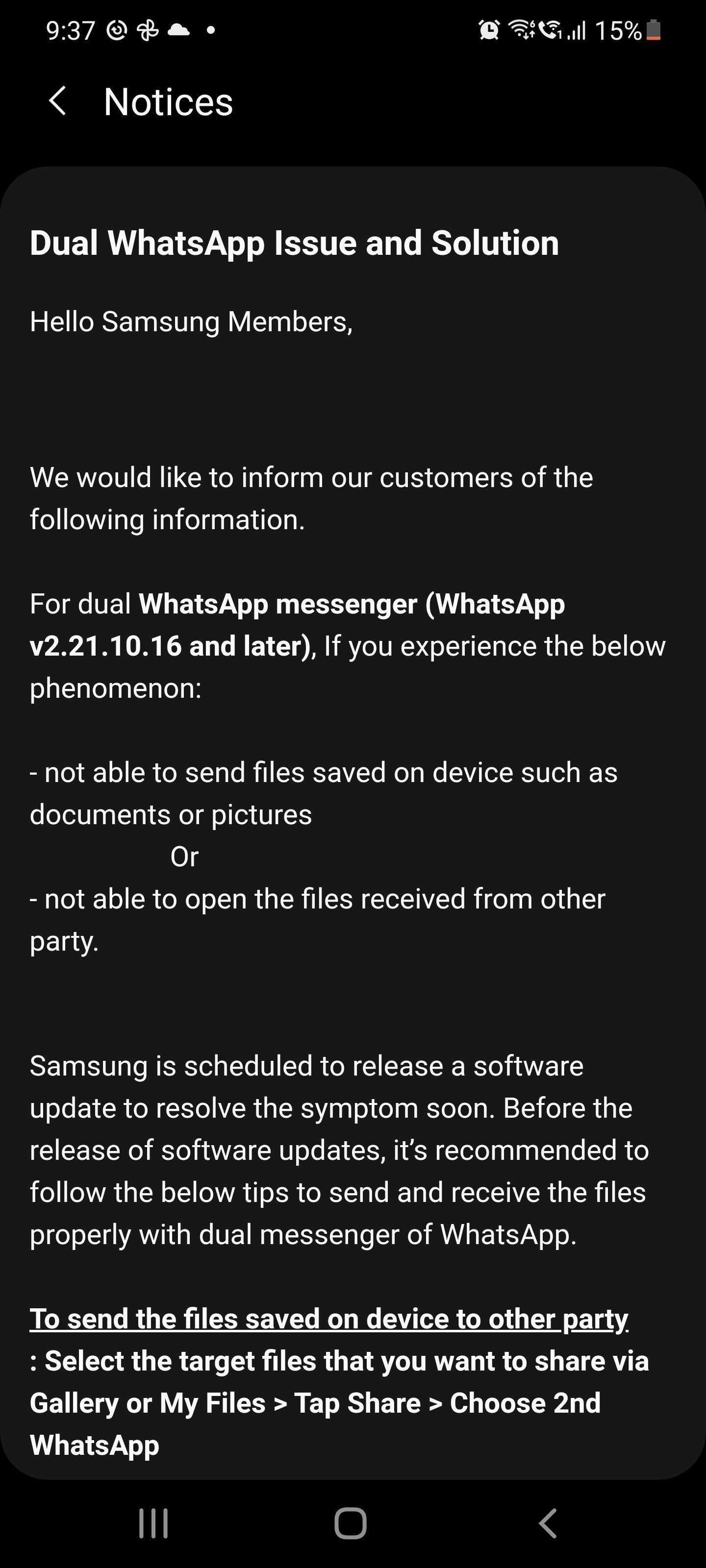 Samsung Dual Messenger WhatsApp File Sharing Issue