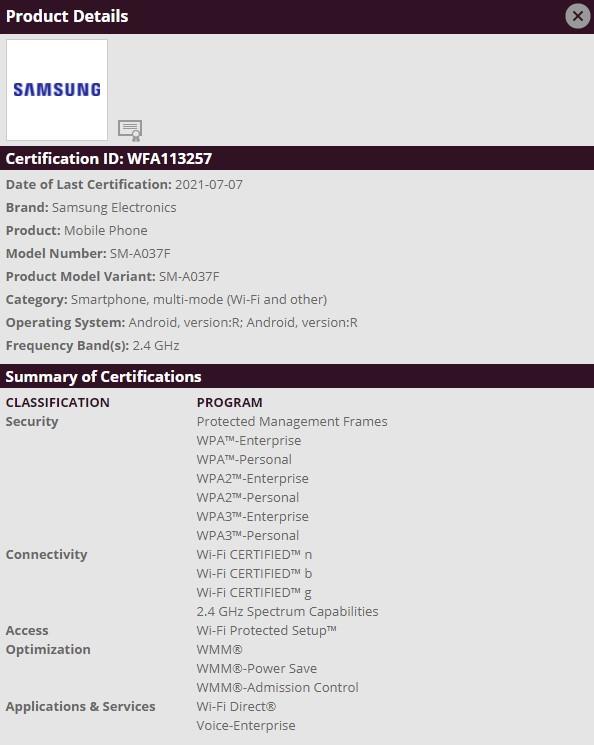 Samsung Galaxy A03s Wi-Fi Alliance Certification