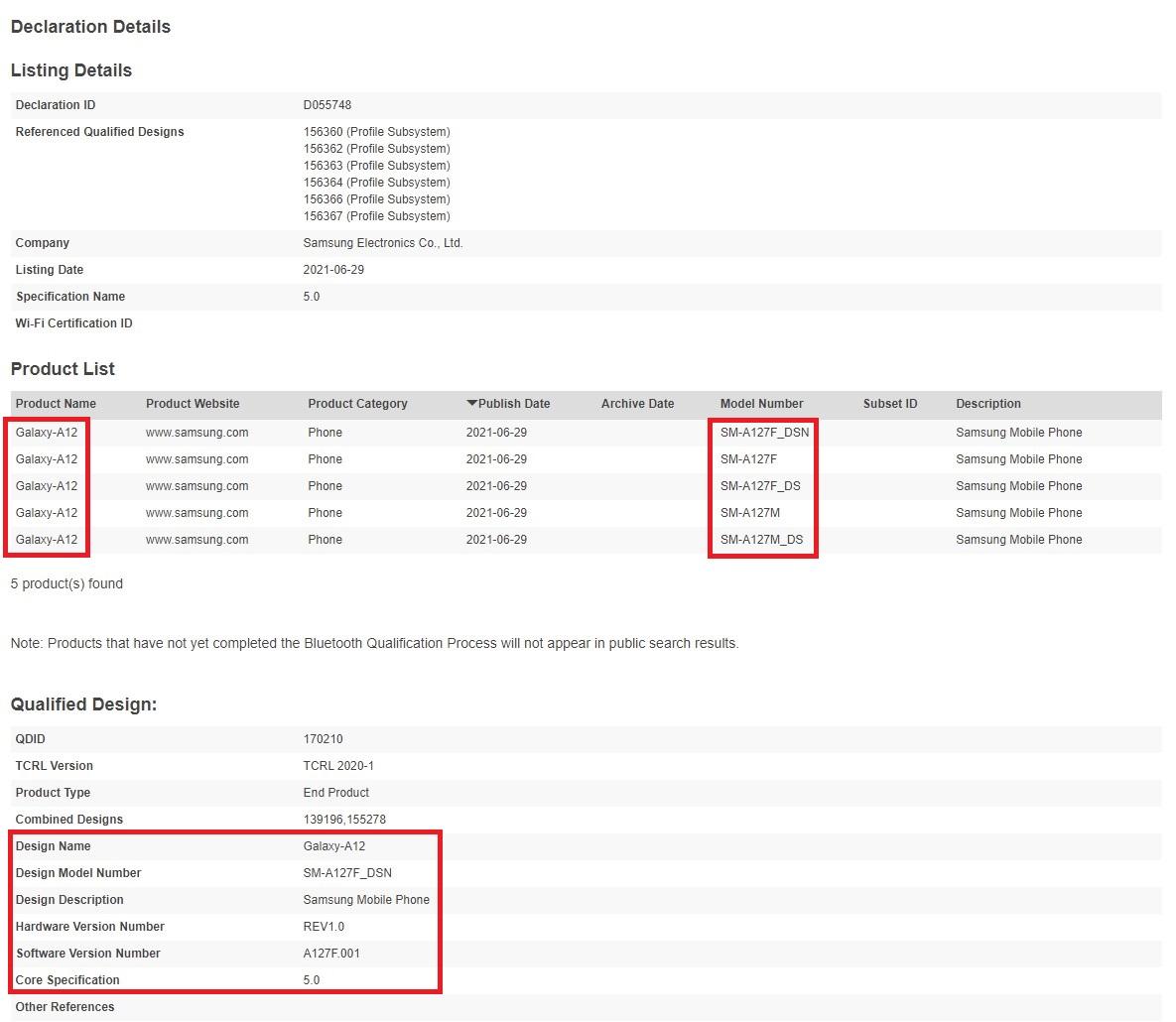 Samsung Galaxy A12s SM-A127F Bluetooth Certification