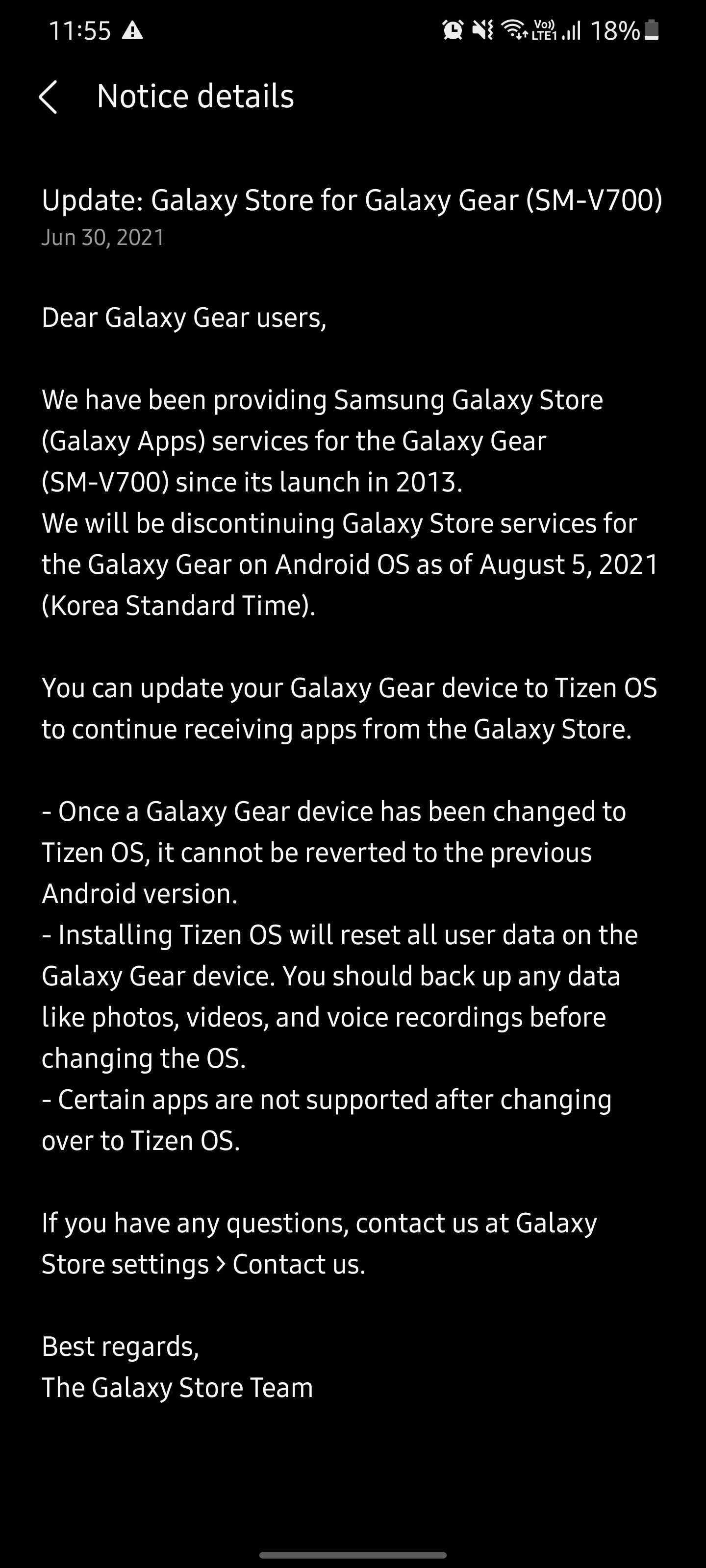 Samsung Galaxy Gear app support