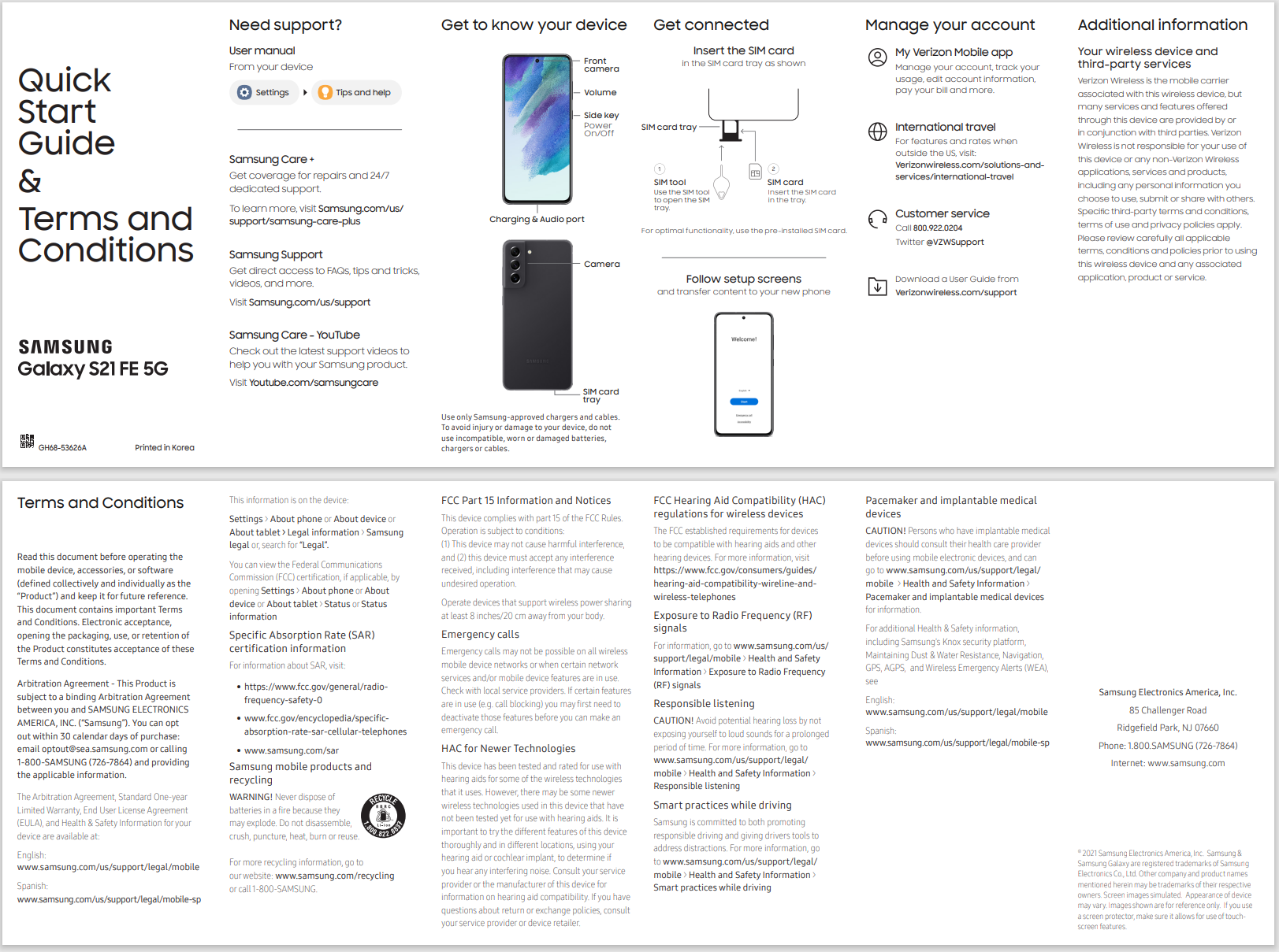 Galaxy S21 FE Verizon quick start guide