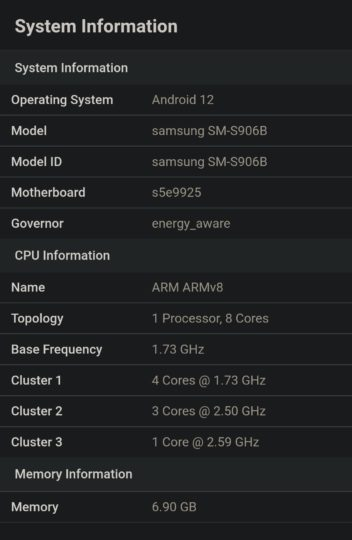 Samsung Galaxy S22 Plus Exynos 2200 Processor Geekbench